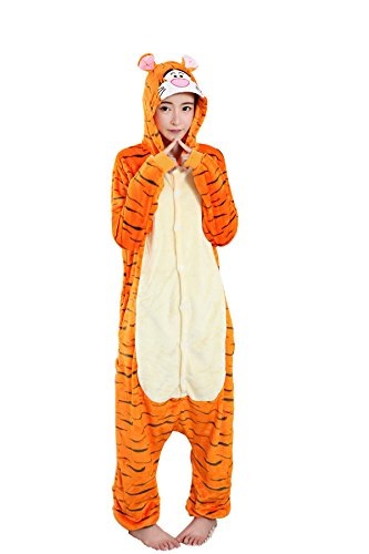 Grilong Unisex Adult Animals Pajamas Onesie Cosplay Costume Cute Sleepwear, Large9_tiger (Tiger Costume Adults)
