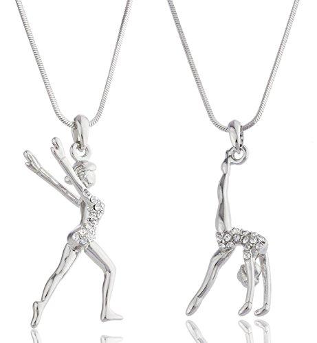 alma-womens-silver-plated-clear-zircon-acrobat-pendants-2-necklace-jewelry-set