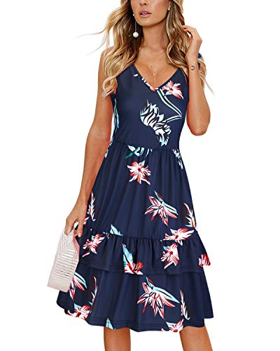 (OUGES Women's Summer V Neck Floral Sleeveless Ruffle Swing Casual Short Dress with Pockets(Floral03,M))