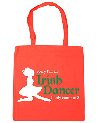 HippoWarehouse Sorry I'm an Irish Dancer I Can Only Count to Eight Tote Shopping Gym Beach Bag 42cm x38cm, 10 litres Coral