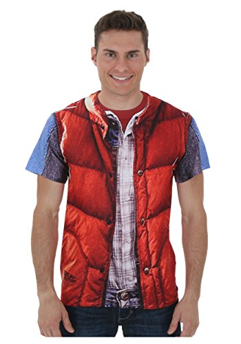 [Back to the Future - Mcfly Vest (Front/Back Print) T-Shirt Size L] (Marty Mcfly Costumes)