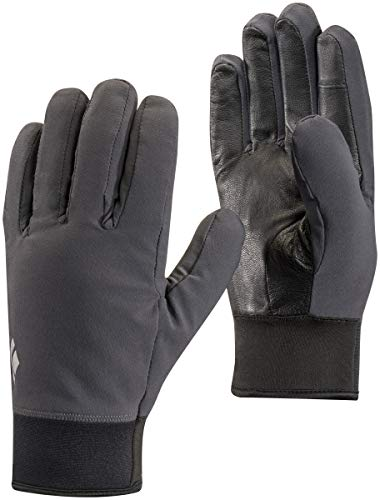 (Black Diamond Unisex Midweight Softshell Lightweight Gloves, Smoke, Large)