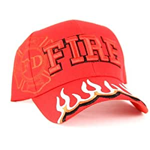 Red Fire Department Hat with Maltese Emblem and Flames