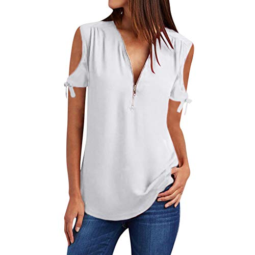 (V-Neck Zipper Shirt, QIQIU Womens 2019 Casual Solid Off Shoulder Loose T-Shirt Short Sleeve Blouses Tee Tops White)