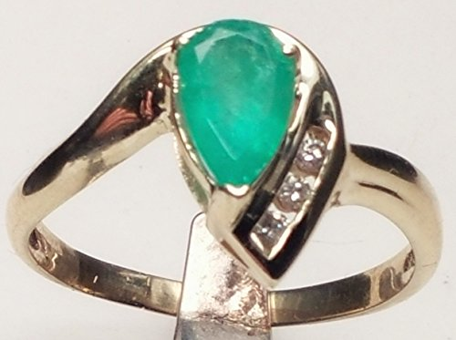 Fine Colombian Emerald (ESTATE FINE JEWELRY 14 KT GOLD WITH A PEAR SHAPE COLOMBIAN EMERALD AND DIAMONDS)