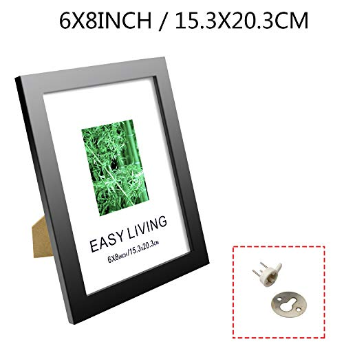 Diswoe 6x8 Black Picture Frame Made of Solid Wood with Mat to Display Pictures Photo Frame for Wall & Tabletop - Wall Mounting Material Included by Diswoe (Image #2)