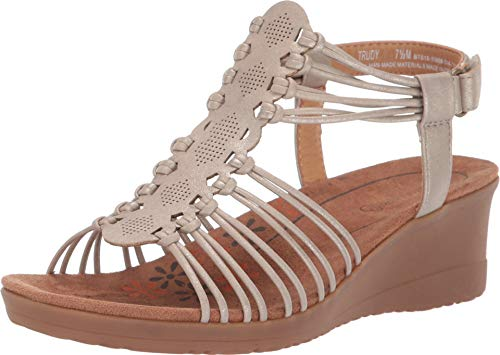BareTraps Women's Trudy Wedge Sandals Champagne 7.5 -