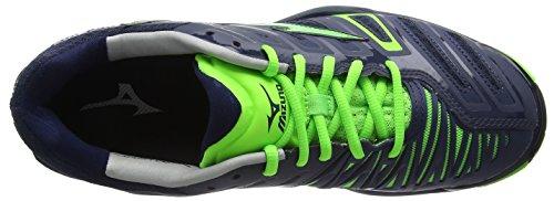 Mizuno Wave Stealth 4 - Zapatillas para hombre Azul - Blue (Dressblues/Greengecko/Silver)