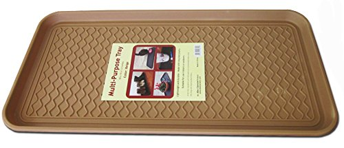 Multi-purpose Tray By Alex Carseon, for Boots, Shoes, Paint, Pets, Garden, Laundry, Kitchen, Pantry, Car, Entryway, Garage, Mudroom. Indoor-outdoor Storage and Floor Protection, Use As Cat Litter Mat or Dog Feeding Mat - 30x15x1.2 Inches (Beige) (One Litter Pan)
