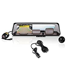 Pyle Rear View Mirror Dual Car Camera DVR Backup Camera Full HD 1080P Dash Cam, Night Vision(2 Camera Recording)