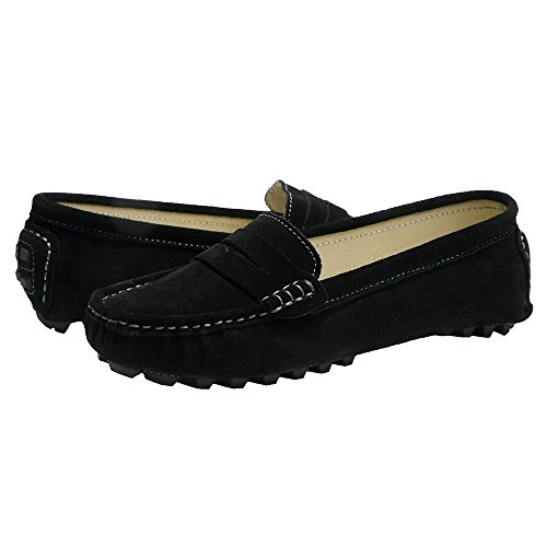Classic Penny Moccasins Leather Loafers Casual Driving Ruiatoo Black Women's Suede 1 0qOaa5