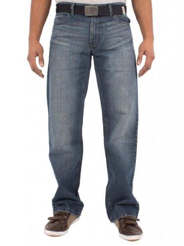 New Mens Blue Jean (BNWT NEW MENS HEAVY DUTY PANTS DARK BLUE JEANS FREE BELT WAIST SIZE 28-48 FBM14 46R)
