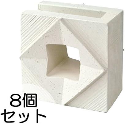 ブロック せっき質無釉ブロック ポーラスブロック150コーナー 白土 E(配筋溝あり・1面フラット) 8個セット単位 屋外壁