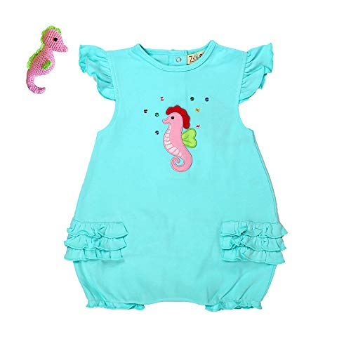 - Zubels Baby Girls' Cotton Knit Seahorse Bubble & Seahorse Rattle, 24 Months, Aqua