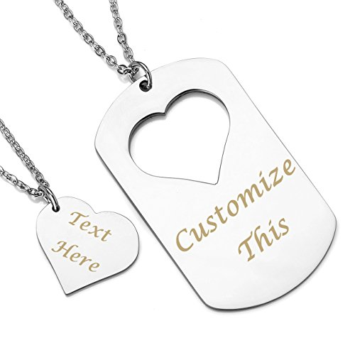 PiercingJ 2pcs Personalized Custom Name Stainless Steel Heart Necklace Dog Tag Necklace Couples Necklace for Him and Her set Pendant with - Heart Tag Necklace Engraved