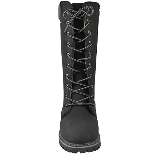 Timbs Size Winter Knee Black High Shoes Nubuck Army Ladies Winter Combat Boots Up Lace Womens Fashion Thirsty 6tqTw7wz