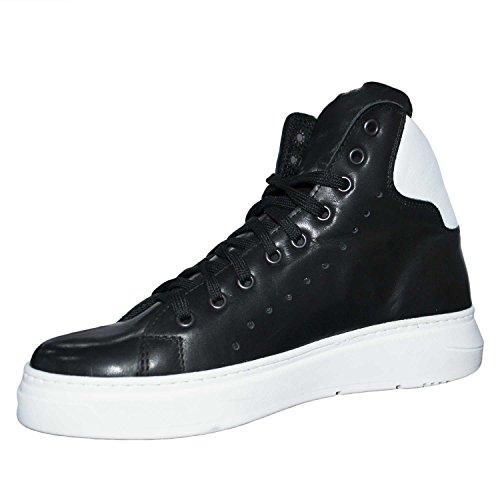 Sneakers alta scarpe uomo art 250 bianco fondo doppio army vera pelle nero rifinimenti in pelle bianco made in italy