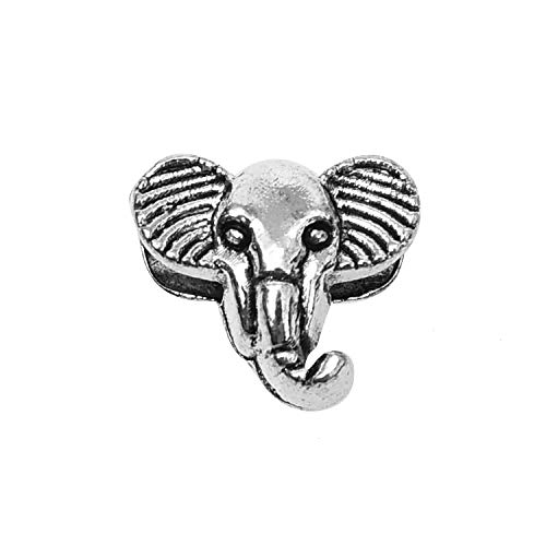 Monrocco 50PCs Elephant Beads Pendants Silver Tone Elephant Head Charms Spacer Beads12x10mm DIY Jewelry Making Findings Charms