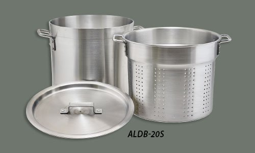 Winco ALDB-20S, 20-Quart 3-Piece Handled Perforated Aluminum Steamer Set with Cover by Winco