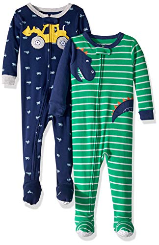 Carter's Baby Boys 2-Pack Cotton Footed Pajamas, Dinosaur/Digger, 18 Months