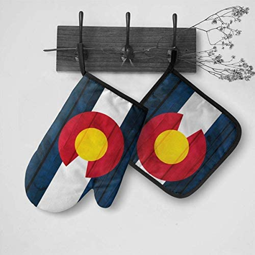 Nonebrand Colorado Flag Wood Texture Haitian Haiti Skull Flag Oven Mitts and Potholders BBQ Gloves-Oven Mitts and Pot Holders Cooking for Kitchen Cooking Baking Grilling Set of 2