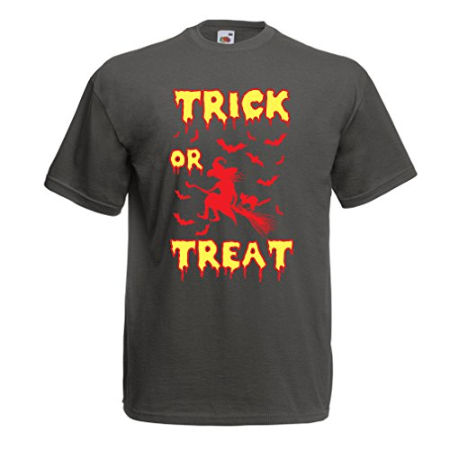 lepni.me T Shirts for Men Trick or Treat - Halloween Witch - Party outfites - Scary Costume (X-Large Graphite Multi Color) -
