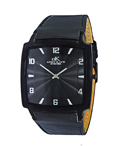 Mens Swiss Stainless Steel & Leather Watch by Adee Kaye-Black tone