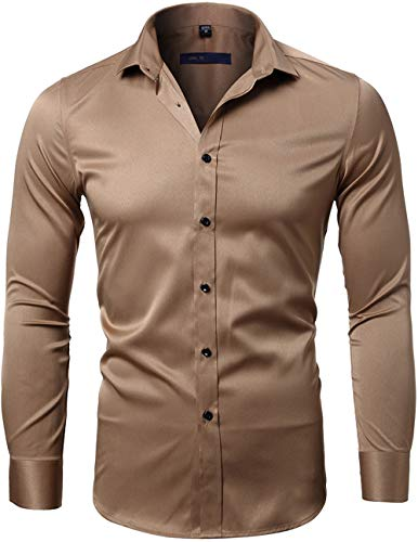 INFLATION Mens Dress Shirts Bamboo Fiber Slim Fit Long Sleeve Casual Button Down Shirts Wrinkle Free Dress Shirts for Men Coffee