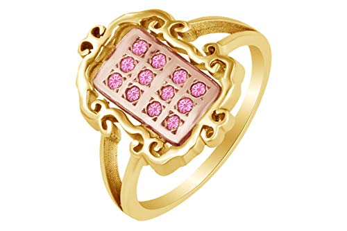 - AFFY 14k Yellow Gold Over Sterling Silver Round Shape Simulated Tourmaline Fashion Two Tone Ring Size 12.5