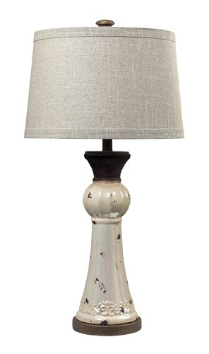 """Dimond Lighting 113-1127 French Country Distressed Pearlescent Ceramic Table Lamp, 16"""" x 16"""" x 32"""""""