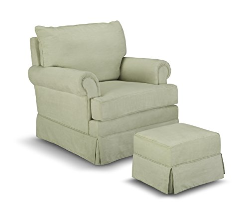 Thomasville Kids Grand Royale Upholstered Swivel Glider and Ottoman, Sage