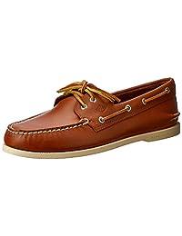 SPERRY Parte Superior-Sider - Zapatos náuticos Originales para Hombre, 2 Ojales, Piel auténtica y Suela de Goma Que no Deja Marcas, Bronceado, 9 M US