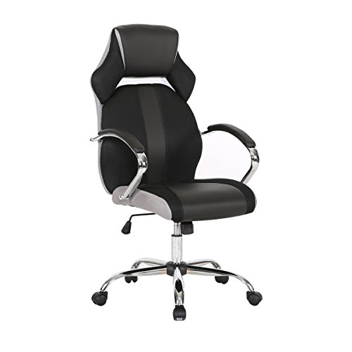 HollyHOME Ergonomic Executive Home Office Chair, High Back Adjustable Tilt Angle Swivel Desk Chair with Chrome Base and Armrests for Home and (Angle Office Chair)