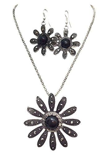 - Gypsy Jewels Statement Silver Tone Necklace & Dangle Earrings Set (Black Daisy Hematite Look)