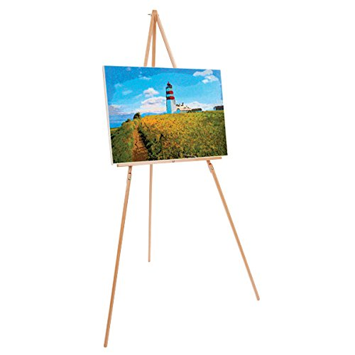 """Creative Mark Thrifty 66"""" Inch Wooden Tripod Display Floor Easel & Artist Easel, Adjustable Tray Chain - Natural Beech Finish"""