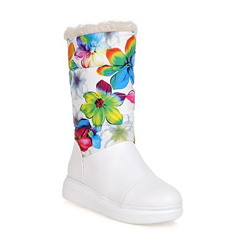 Soft Round Toe Pull Boots top Low on Low AgooLar Material White Heels Closed Women's wFXzpp