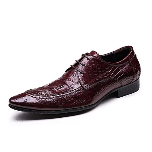 Santimon Leather Grain Oxford Alligator Shoes Men's Brown Dress Zxrvxt
