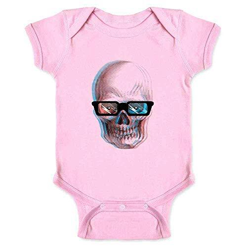 (Pop Threads Skull Wearing 3D Glasses Retro Pink 18M Infant Bodysuit )