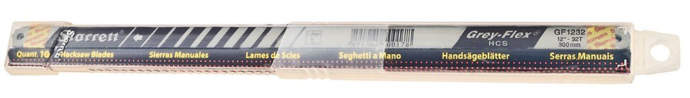 Starrett KGF1232-10 High Carbon Steel Grey Flex Hand Hacksaw Blade, 0.025'' Thick, 32 TPI, 12'' Length x 1/2'' Width (Pack of 10)