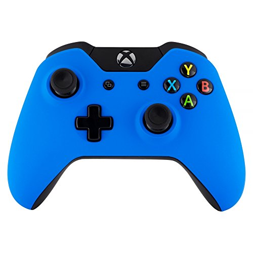 eXtremeRate Custom Design Unique Top Shell Case Front Housing Replacement Faceplate Kits for Xbox One Remote Controller Cover (Soft Touch Blue)