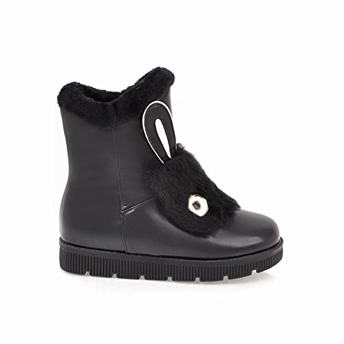 Mee Shoes Women's Cute Flat Faux Fur Short Boots Black x03bD7