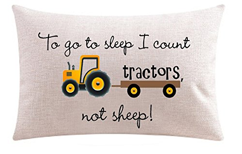 To go to sleep I count tractors Not sheep Cotton Linen Throw pillow cover Cushion Case Holiday Decorative 12X20 inch (2)