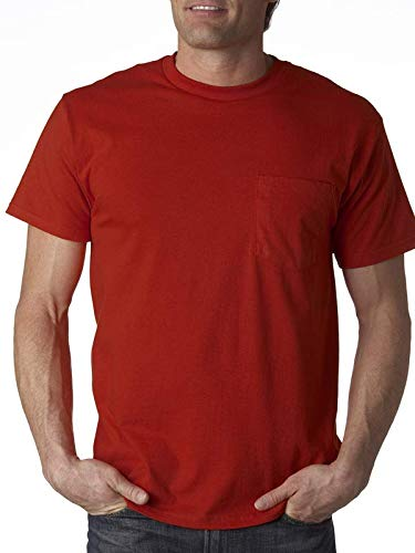 Fruit of the Loom Men's 4-Pack of Pocket T-Shirts, True Red, 2X (Pack of 4) by Fruit of the Loom