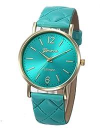 Fashion Women Geneva Roman Watch Lady Leather Band Analog Quartz Wrist Watch (Sky Blue)