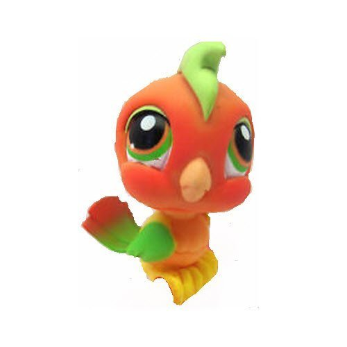 (Hasbro Littlest Pet Shop Tropical Cockatoo Parrot Toucan Bird # 394 (Orange Yellow Green with Orange and Green Eyes) - LPS Loose Figures - Replacement Pets - LPS Collector Toy (Out of Package/OOP))