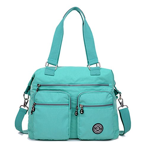 Totes Crossbody Large Chou Lightweight Bag Bag Nylon Pockets Resistant Shoulder with Green Tiny Water wpXx4T4