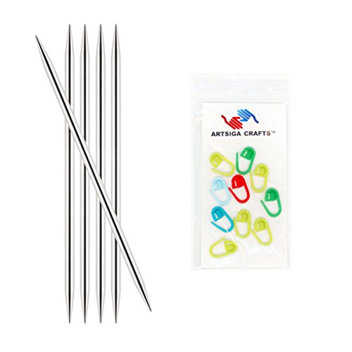Knitter's Pride Nova Platina Double Point 8-inch (20cm) Knitting Needles (Set of 5) Size 3 (3.25mm) Bundle with 10 Artsiga Crafts Stitch Markers 120146