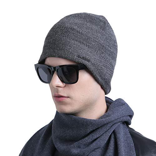 Hat Beanie Knit Ski (CACUSS Mens Winter Wool Beanie Hat Warm Knit Hat Ski Cuff Beanie Thick Fleece Lined Skull Cap (Gray))