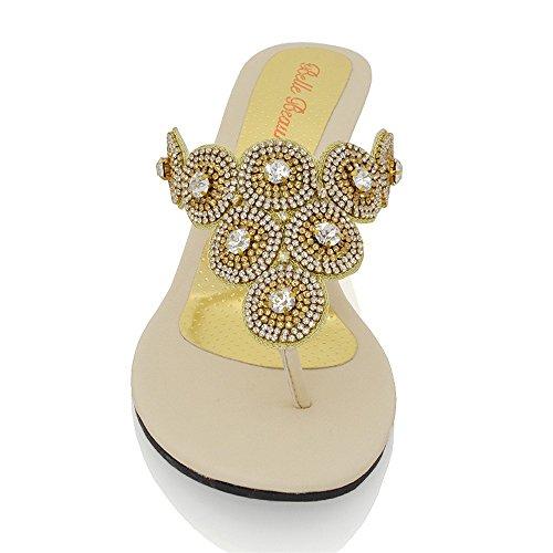 Essex Glam Kvinna Diamante Glittrande Kilklack Syntetiska Tå Placera Sandaler Guld Metalliska