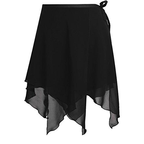 FEESHOW Women Asymmetric Chiffon Ballet Wrap Skirt Dance Skate Wrap Over Scarf with Waist Tie Black One Size (Ballet Black Wrap)